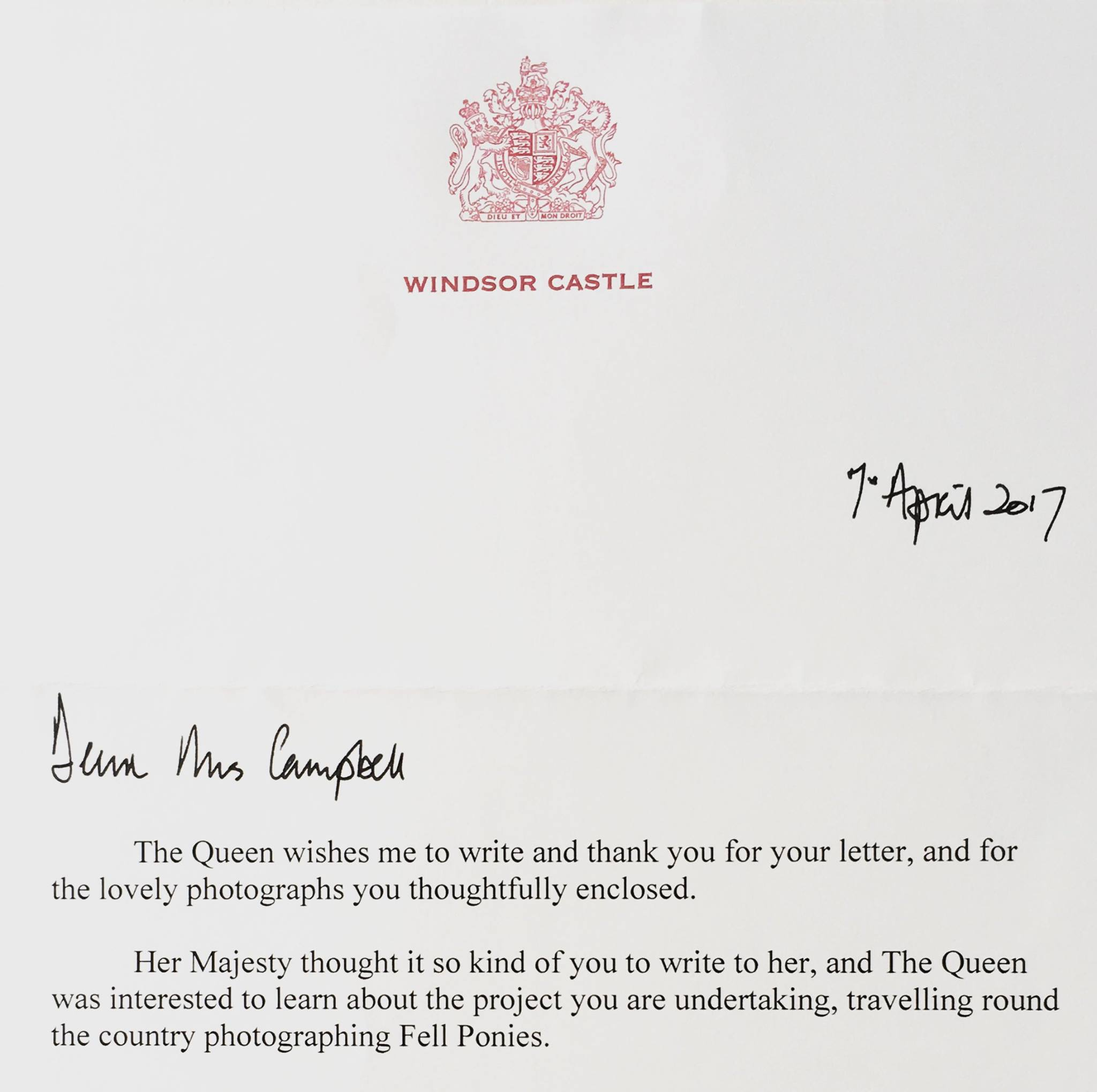Letter from Her Majesty the Queen