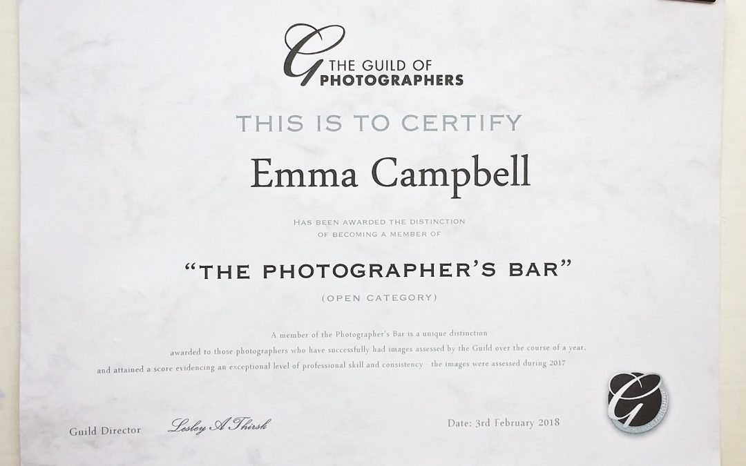 Awarded by the Guild of Photographers – Gaining my Bar