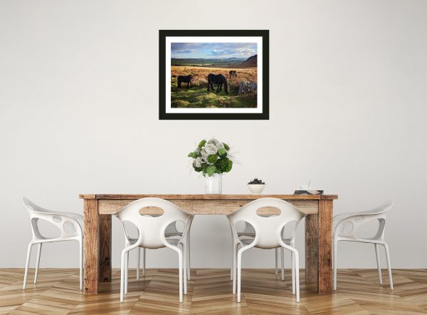 Equestrian framed print - lake district fell ponies
