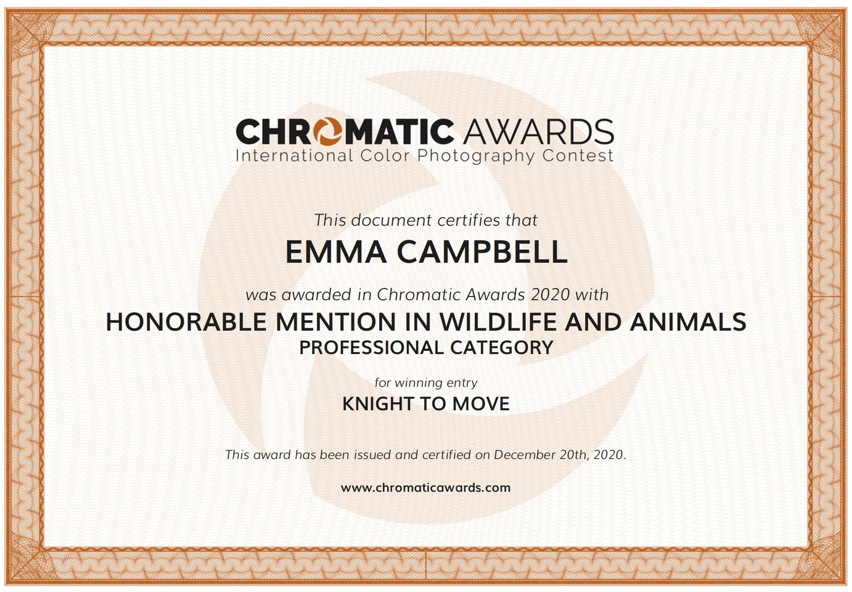 Certificate - chromatic awards